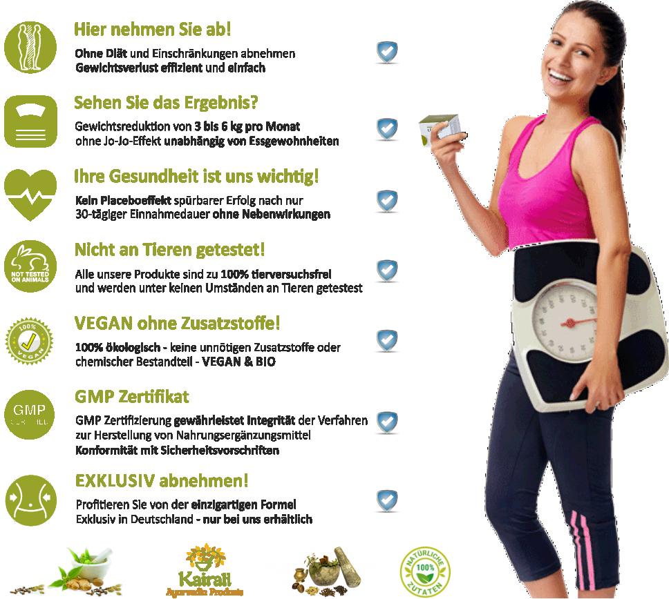 Hier nehmen Sie ab. 3 bis 6kg pro Monat unabhängig von Essgewohnheiten, Ihre Gesundheit ist uns wichtig! Nicht an Tieren getestet! Vegan ohne Zusatzstoffe! GMP Zertifikat,